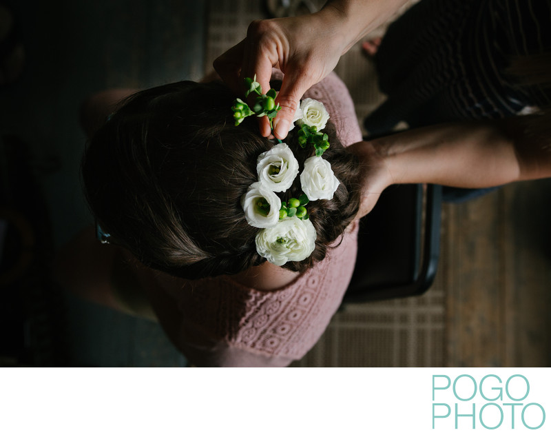 Upper Valley Bridal Hair Design with Fresh Flowers