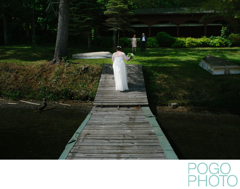 Bride Meets Parents by the Lake in Fairlee, Vermont