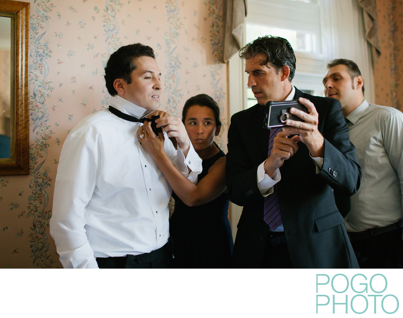 Groom Prep in RKO Movie Star Room at the Wilburton Inn