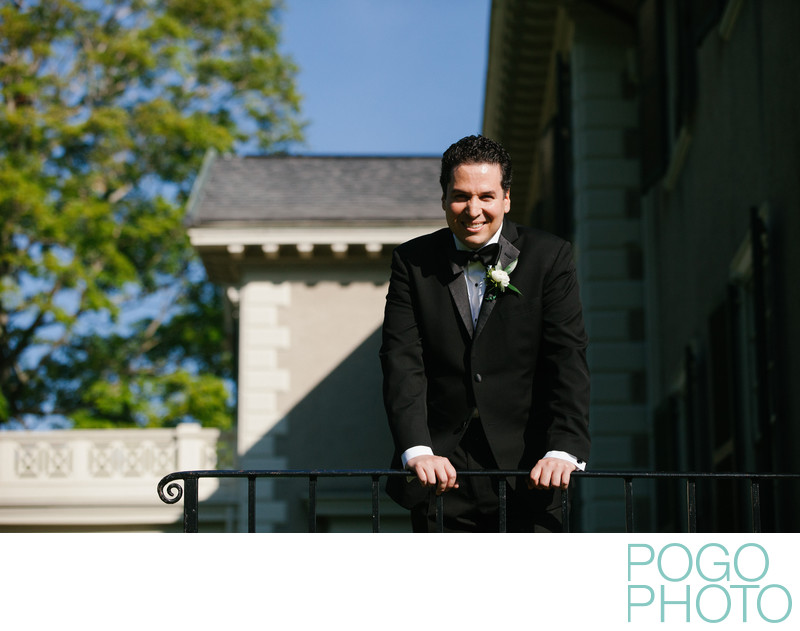 Confident Groom Awaits His Wife at Hildene, Manchester