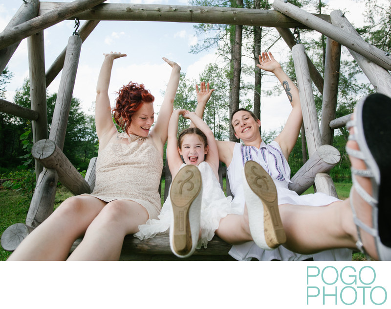 Two Brides and their Daughter Celebrate VT Gay Wedding