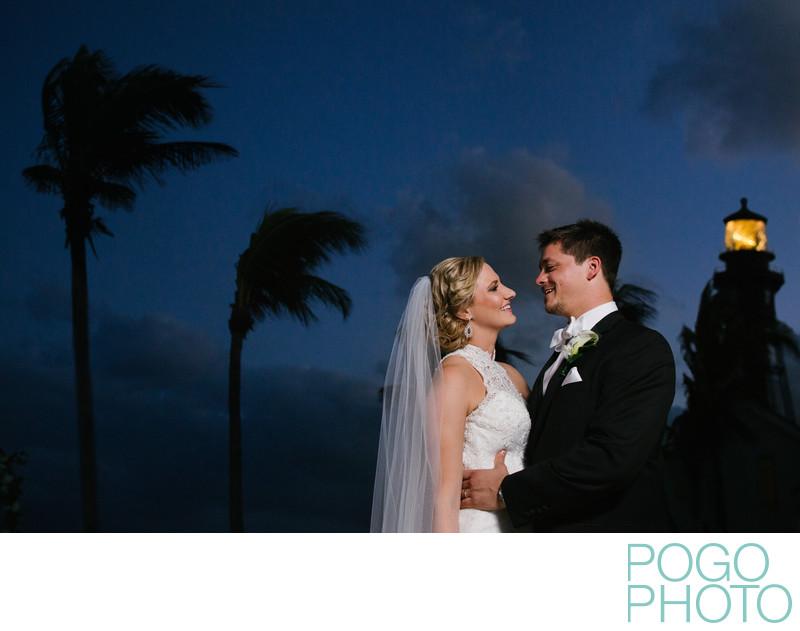 Hillsboro Inlet Lighthouse Night Wedding Photos