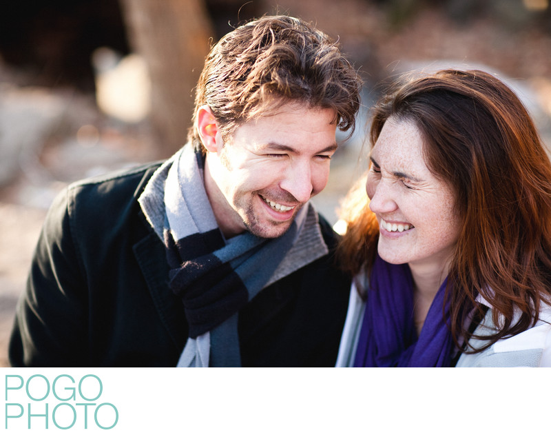 Laughing engagement portraits in Central Park