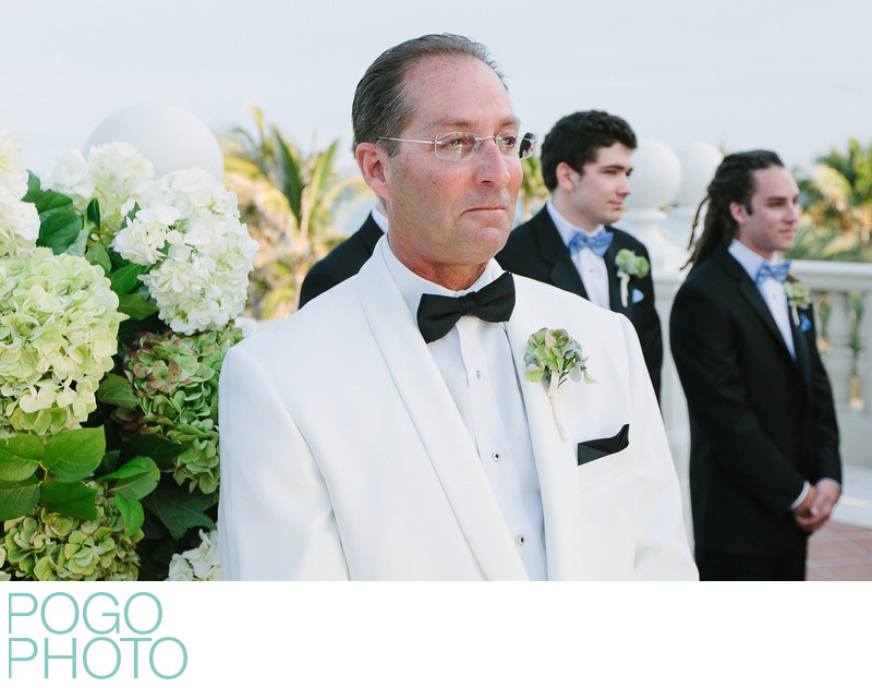 Groom sees bride at the aisle, The Breakers, Palm Beach