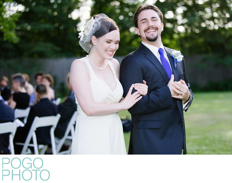 The Pogo Wedding: exiting our ceremony with grins