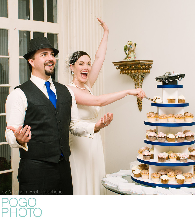 The Pogo Wedding: cutting cupcakes at our reception