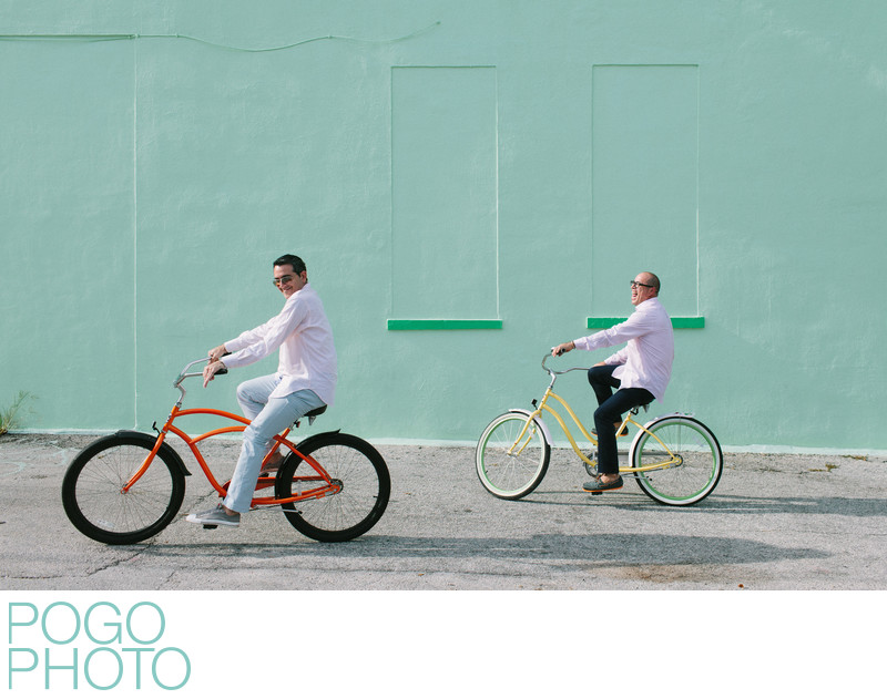 Playful South Florida Gay Engagement Photo with Bikes