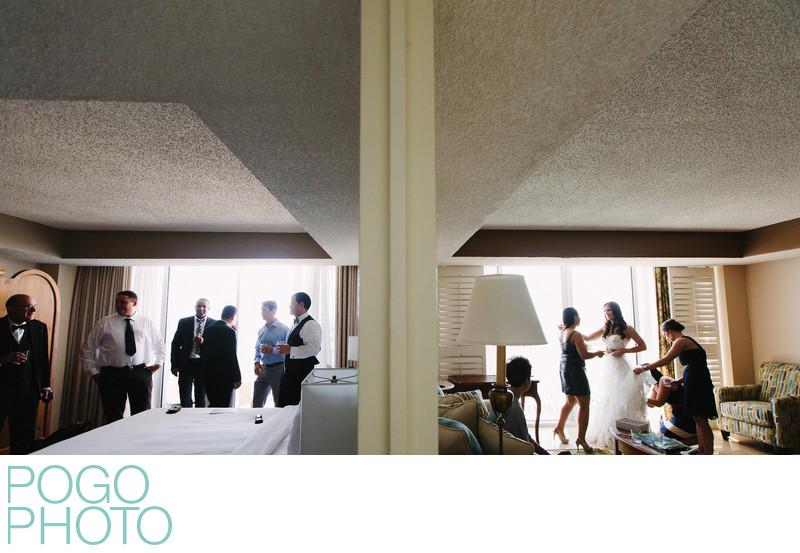 Bride & Groom Prep in Adjoining Rooms at Hyatt Pier 66