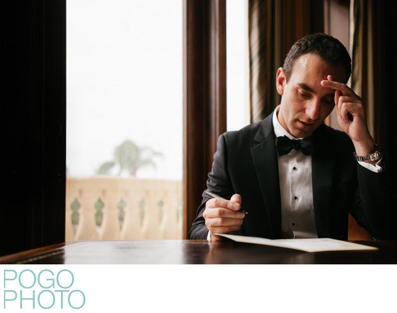 Emotional Groom Writes Card for His Bride in Jupiter FL