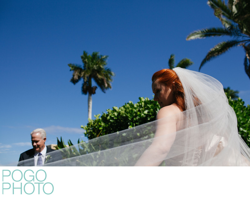 South Florida Bride and Her Father From Creative Angle