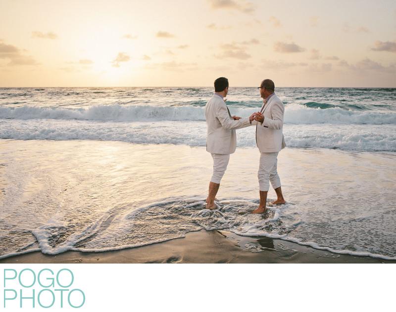 Same Sex Wedding Photo at Sunrise on Palm Beach Island