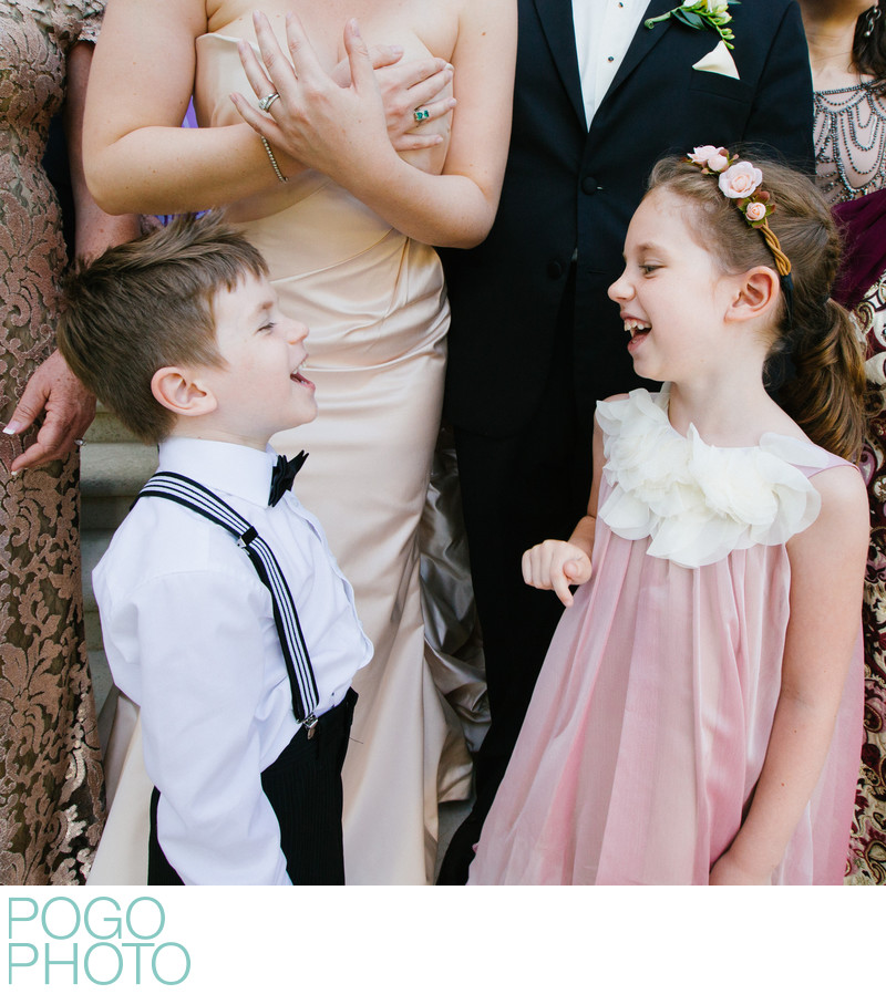 Ring Bearer & Flower Girl in Silly Moment at Formals