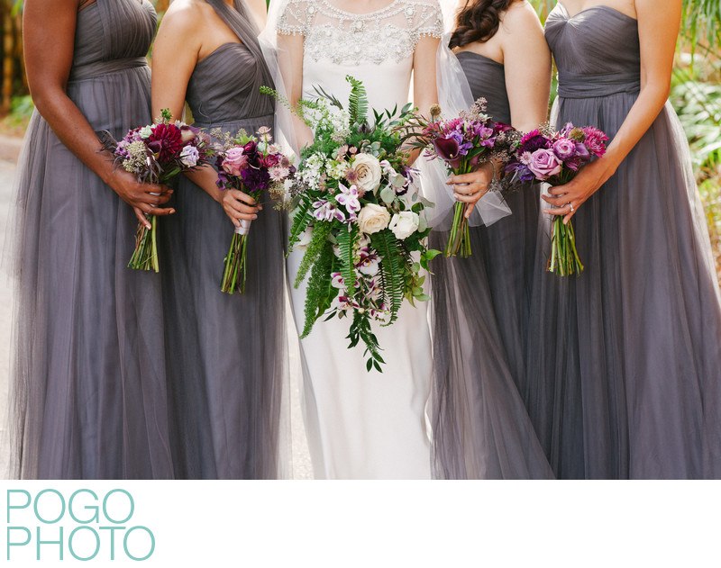 Purple, Gray, Lavender Bridesmaids' Dresses & Bouquets