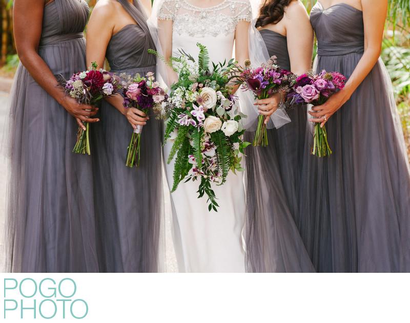 Purple, Gray, Lavender Bridesmaids' Dresses & Bouquets