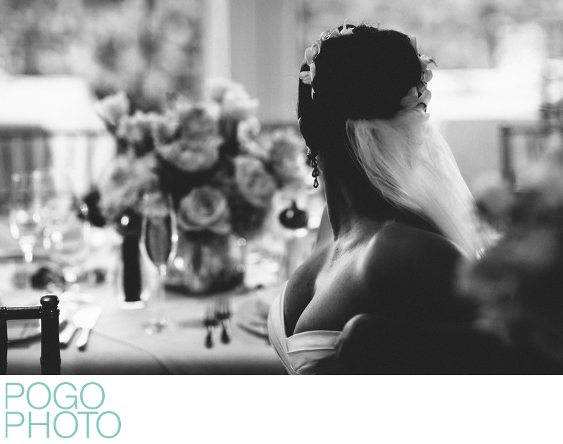Sensual and Classic Portrait of Beautiful Bride in B&W