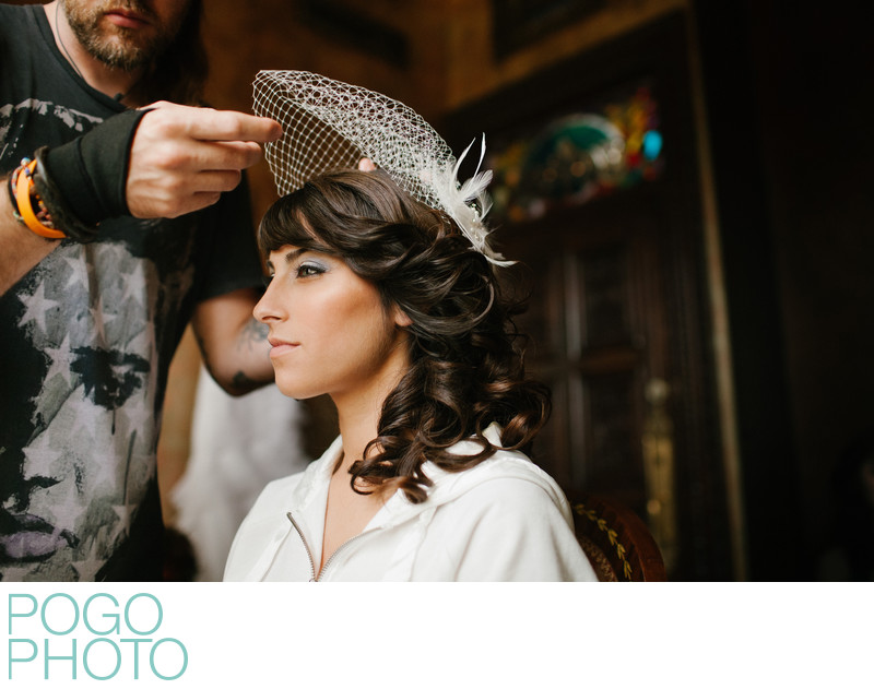 Badass Bride has Punky Stylist Pin Birdcage Veil, Miami