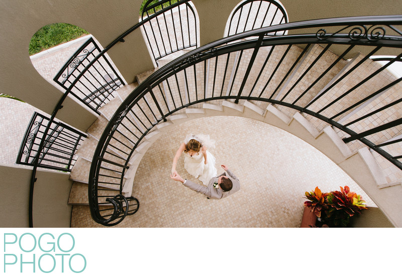 Naples Bay Resort Sweeping Staircase Wedding Portrait