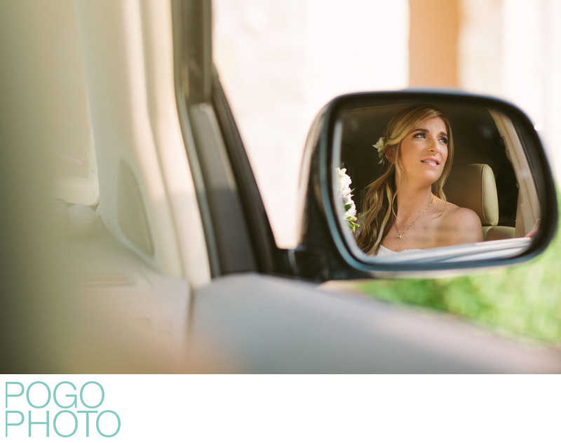 Excited Bride in Car Mirror Headed to First Look