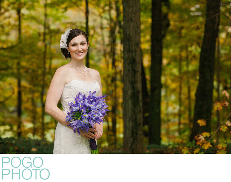 Vermont Fall Wedding Bridal Portrait with Purple Irises