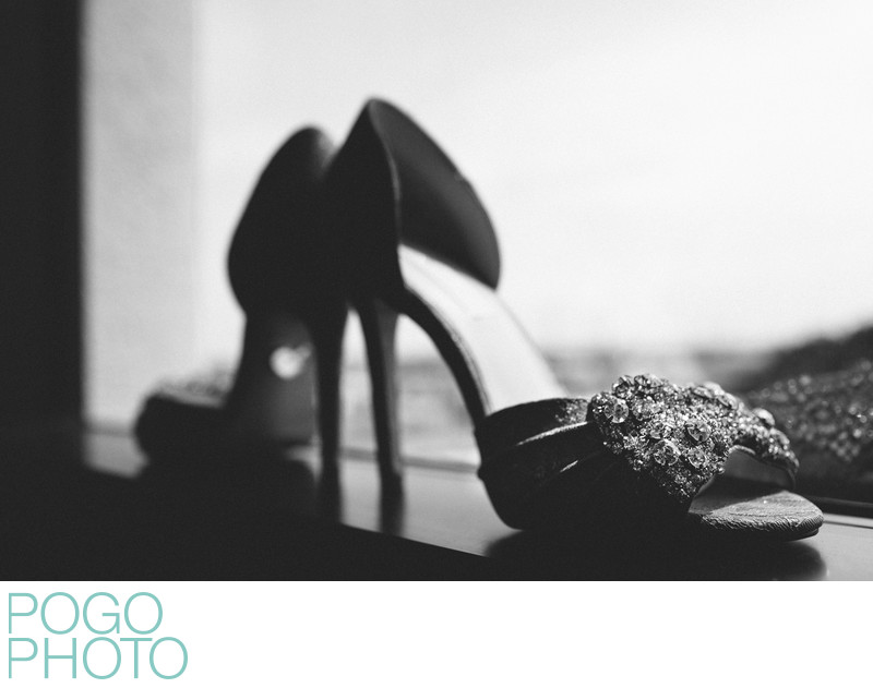 Black and White Photo of Betsey Johnson Wedding Shoes
