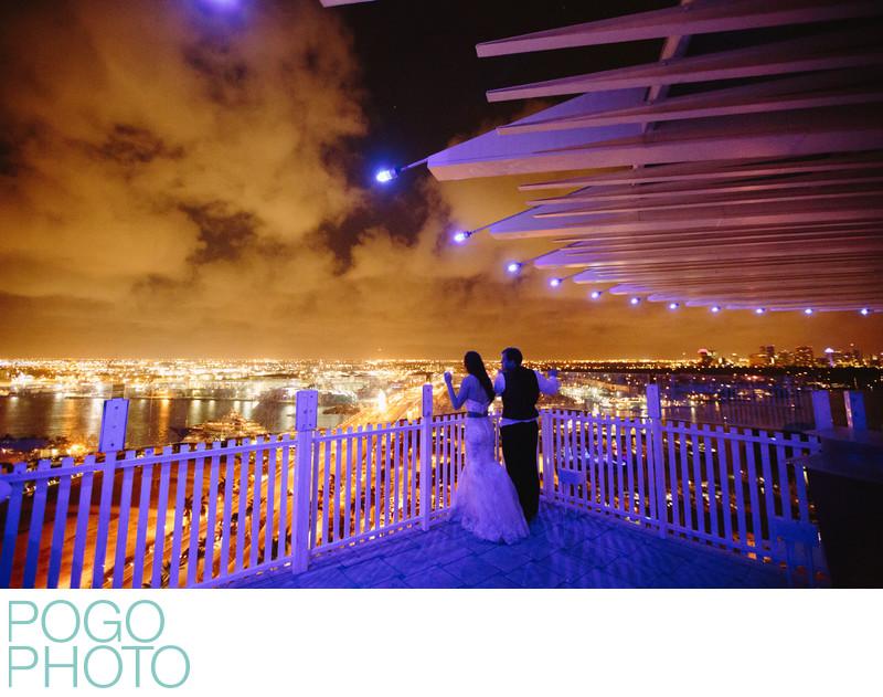 Blue LED Lights Illuminate Wedding Couple, Pier 66 FTL