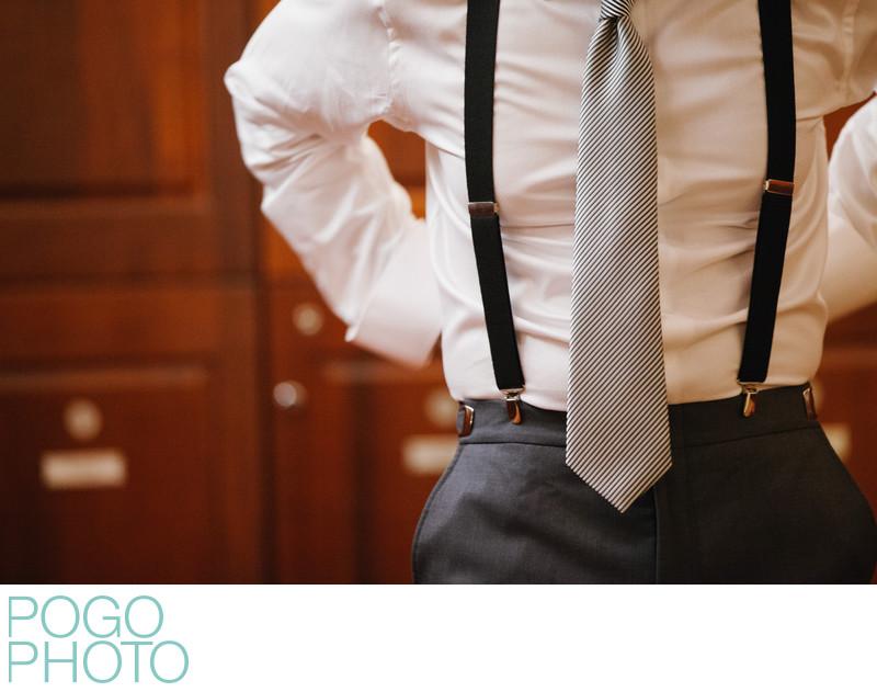 Wedding Suspenders, Gray Suit and Tie in Locker Room