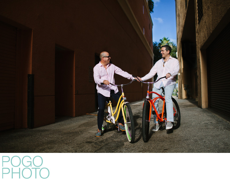 Colorful Bicycles in South Florida Gay Engagement Photo