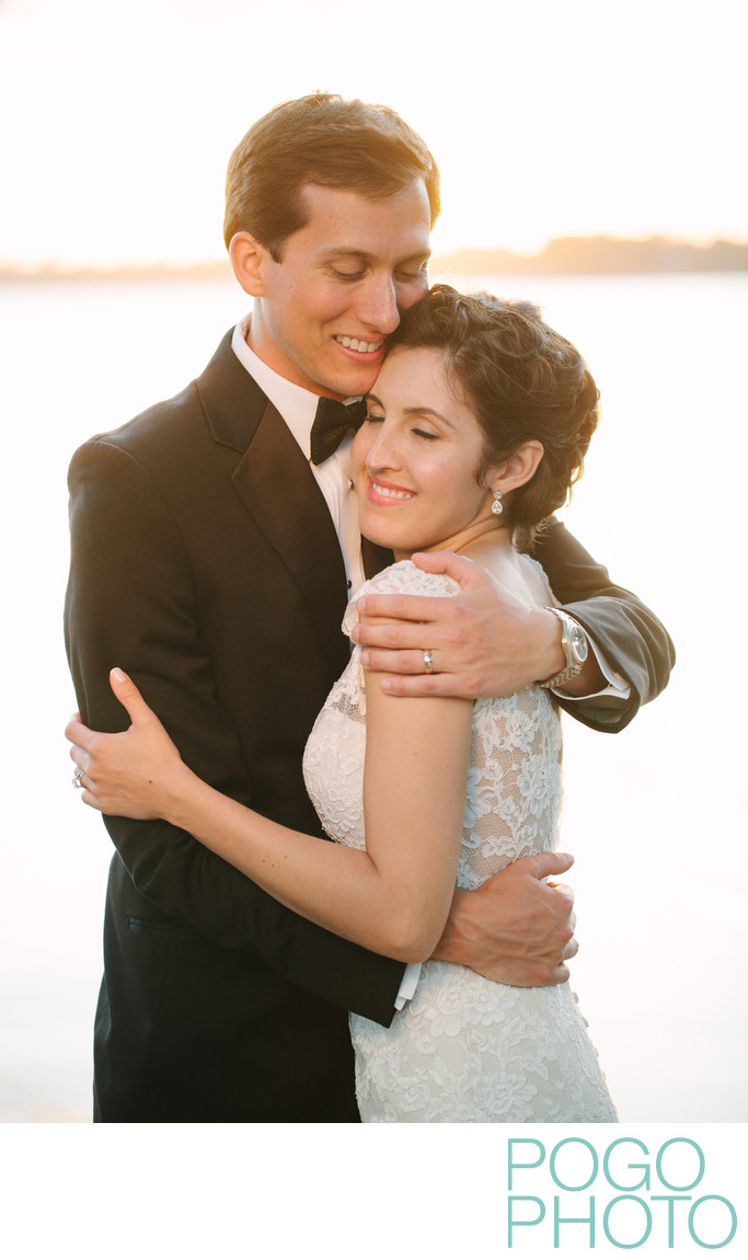 Glowing Couple Embrace by Burlington Lakeside