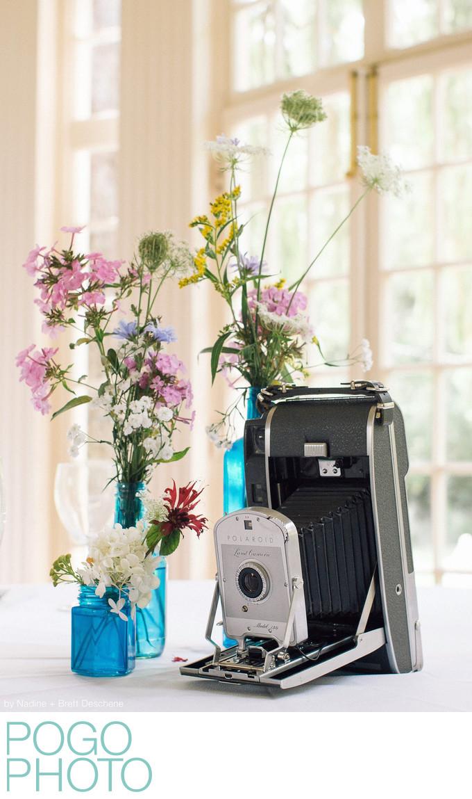 The Pogo Wedding: wildflowers and antique cameras