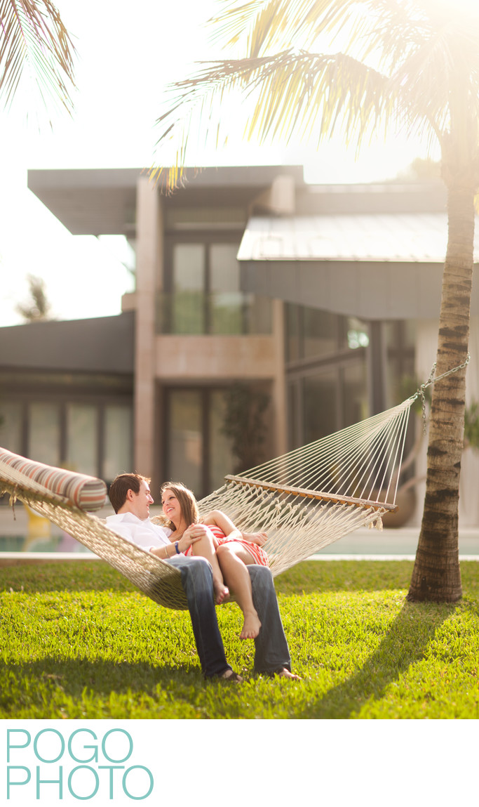 Jupiter Inlet Colony Engagement Portraits at Residence