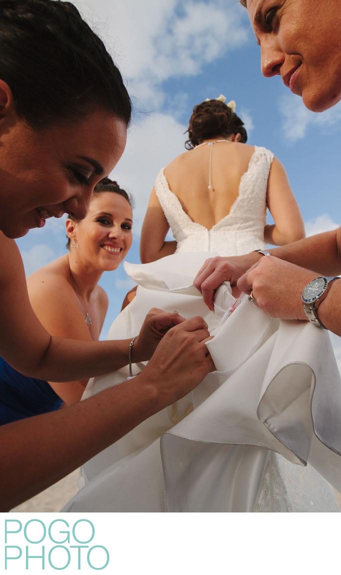 Dress Bustling Bridesmaids at Palm Beach Island Wedding