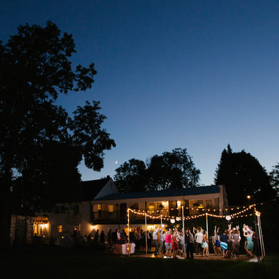 Dowds' Country Inn Outdoor Wedding Dance Floor at Dusk
