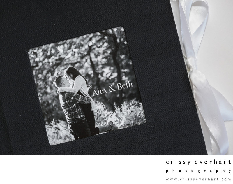 PhotoBook Engagement Session Album with ribbon tie