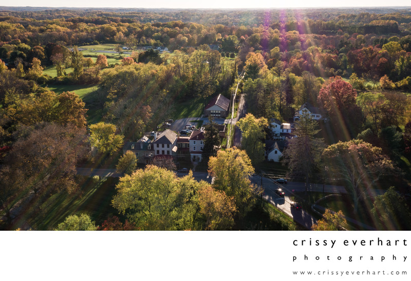Aerial view of Historic Sugartown in the fall