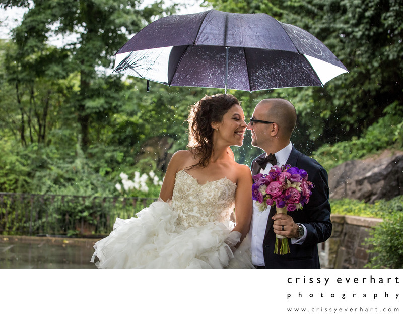 Central Park Conservatory Gardens Rainy Day Wedding