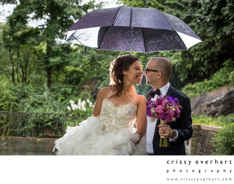 Central Park Conservatory Gardens Rainy Day Wedding