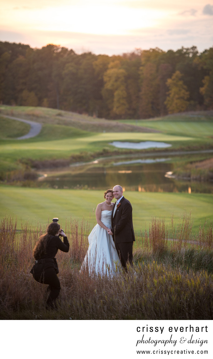 Crissy photographing a couple at a golf club in NJ