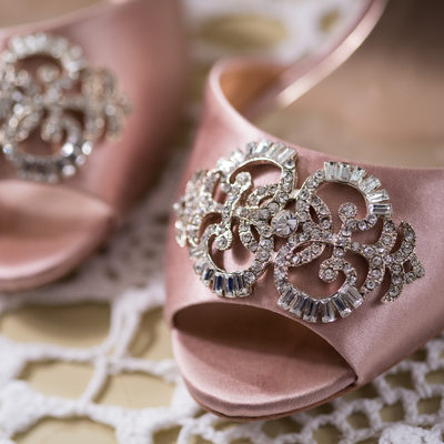 Pink Bridal Shoes with Silver Bling on Lace