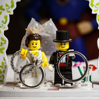 Lego Cake Topper with Wedding Rings