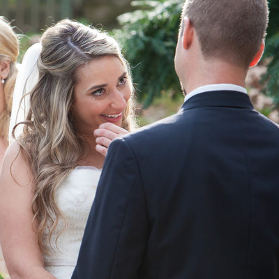 Bride Sheds a Tear During Ceremony at Ridley Creek Park