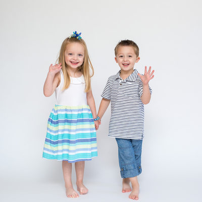 Four year old twins studio portrait session in Malvern