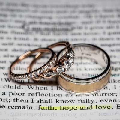 Wedding Bands on Bride's Bible,