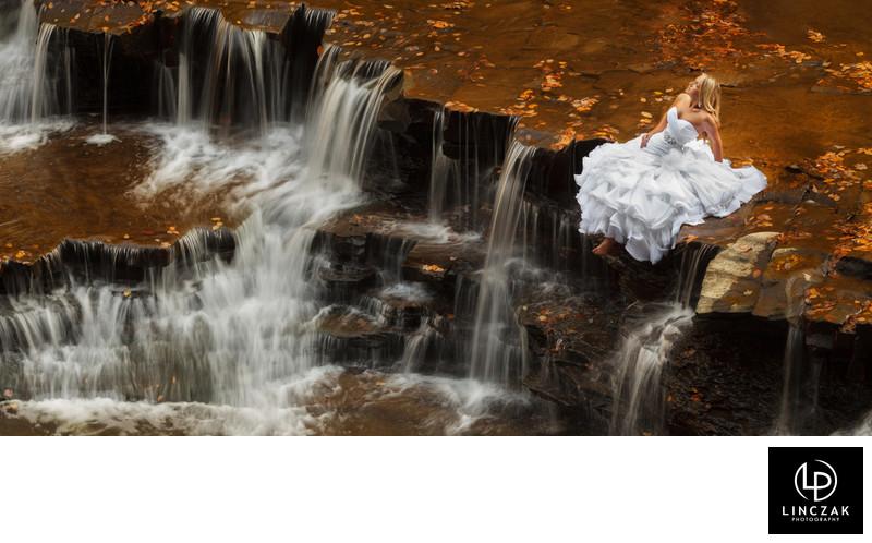 Unique and dramatic Cleveland bridal portrait