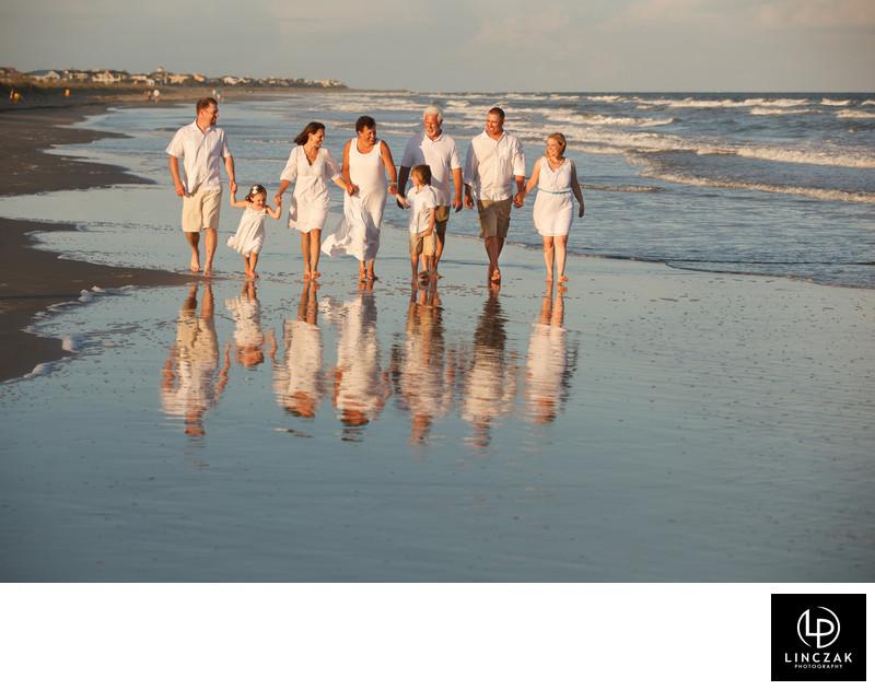 family beach reflection