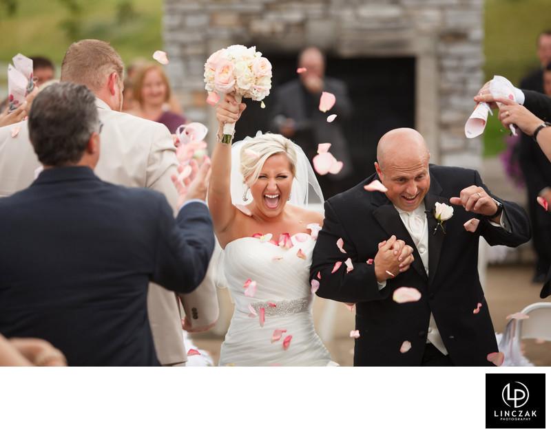 bride and groom exit photos