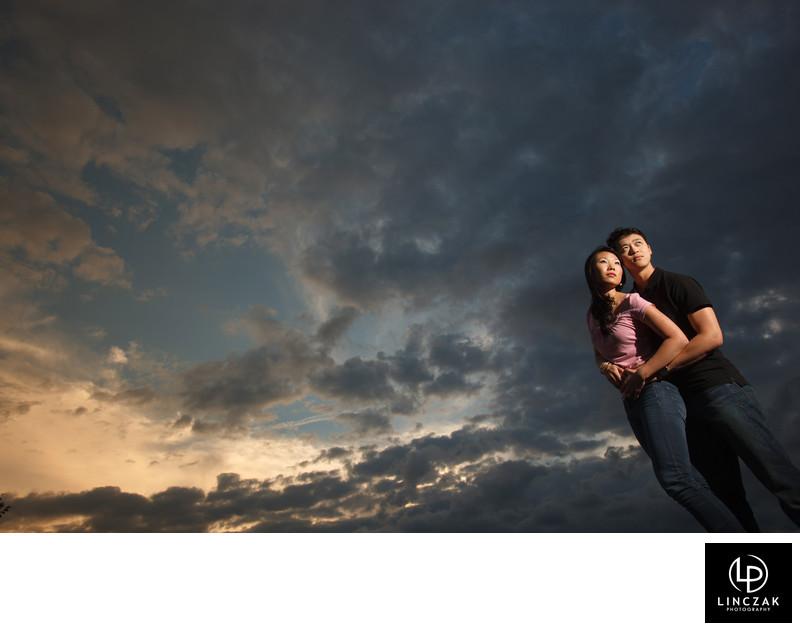 dramatic sky cleveland engagement
