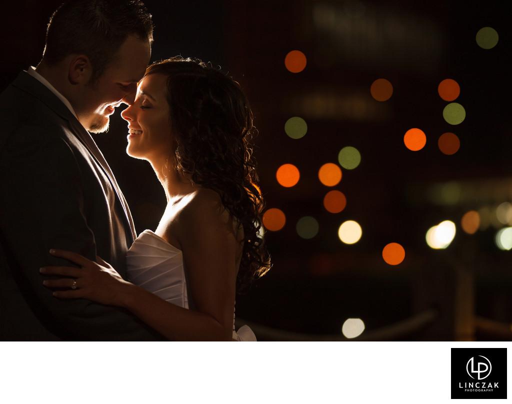 nighttime cleveland wedding photos