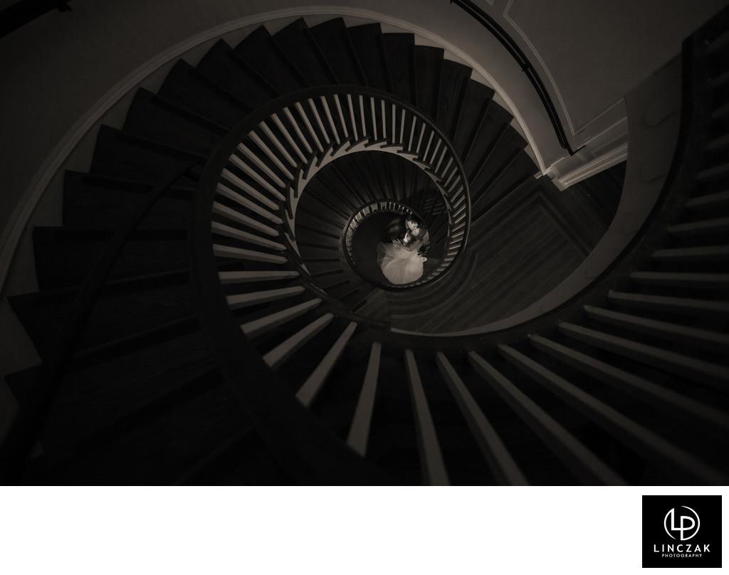 spiral staircase wedding photos