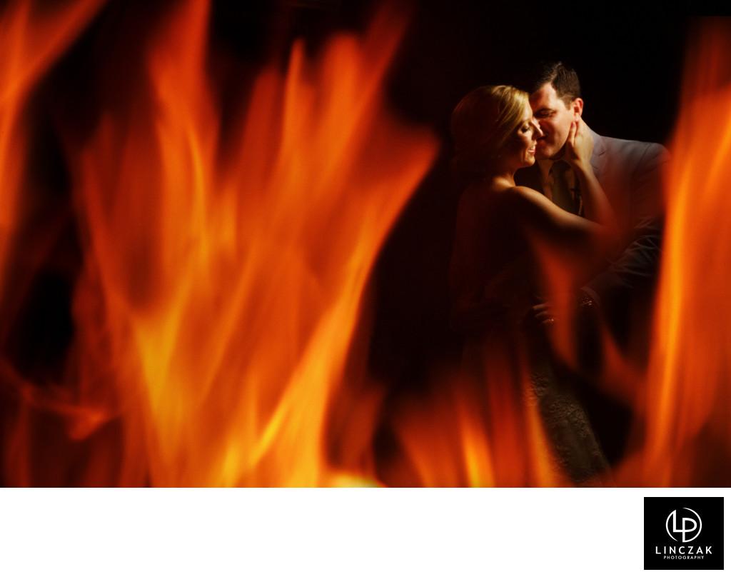 wedding photos in the fire