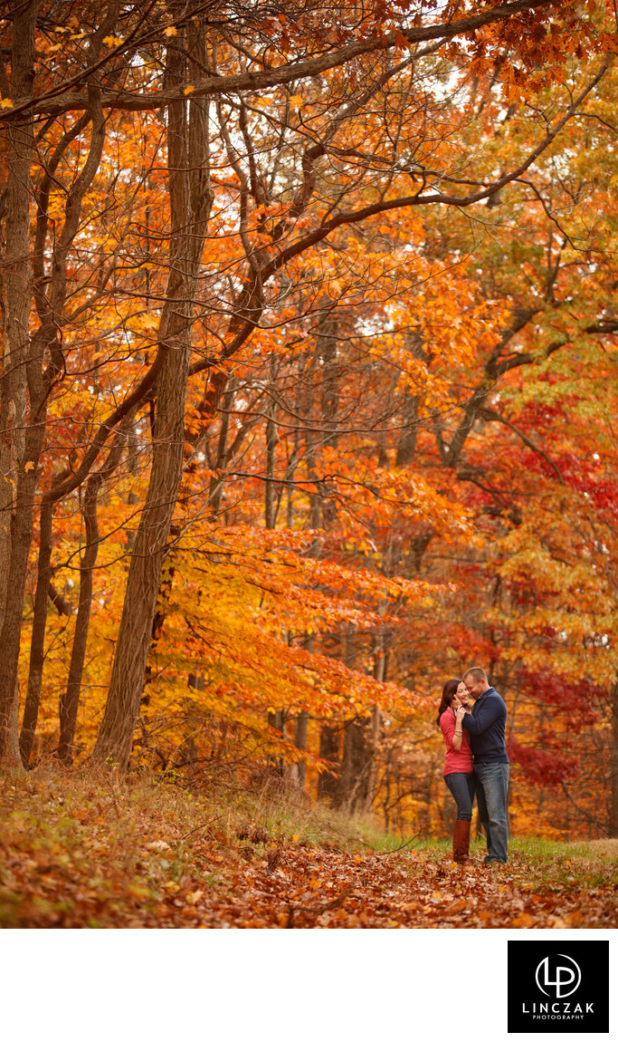 fall cleveland engagement session